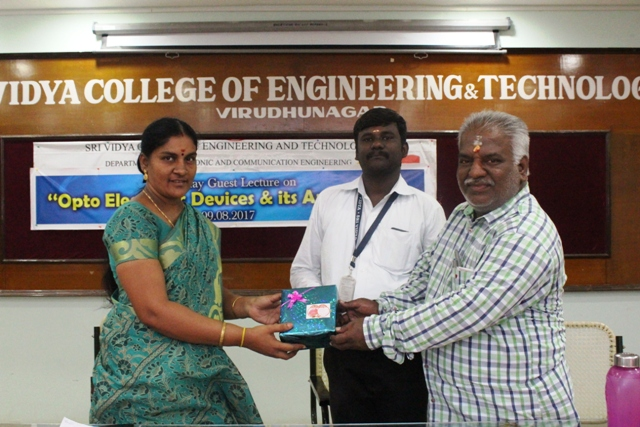 One Day Guest Lecture on Optoelectronic Devices and its Application  on 09.08.2017